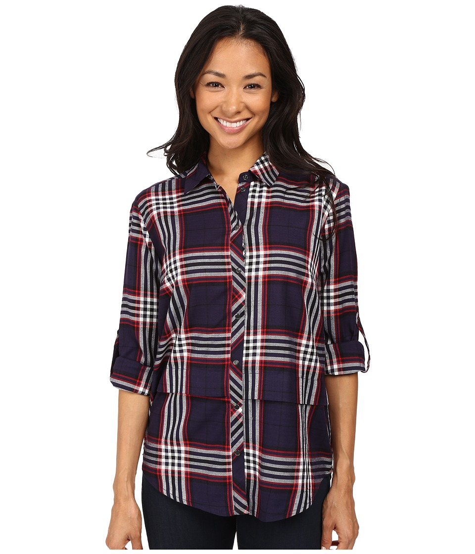 KUT from the Kloth - Tabitha (Navy/Red) Women's Long Sleeve Button Up