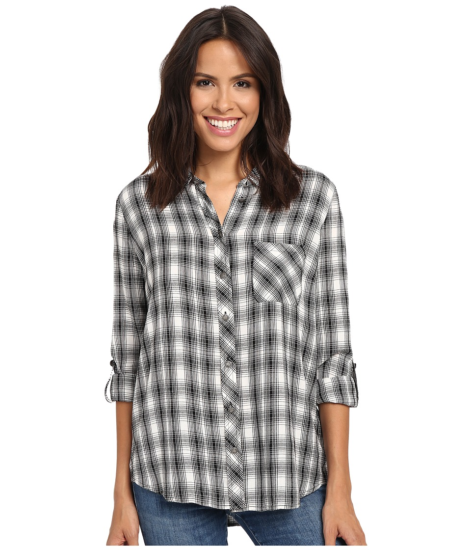 KUT from the Kloth - Kayla (Black/White) Women's Long Sleeve Button Up