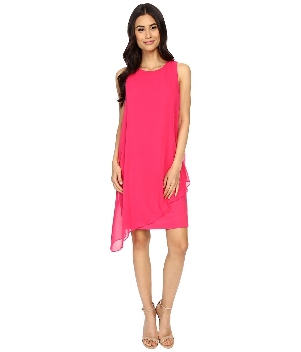 Vince Camuto - Asymmetric Drape with Fitted Under Dress (Fuchsia) Women's Dress