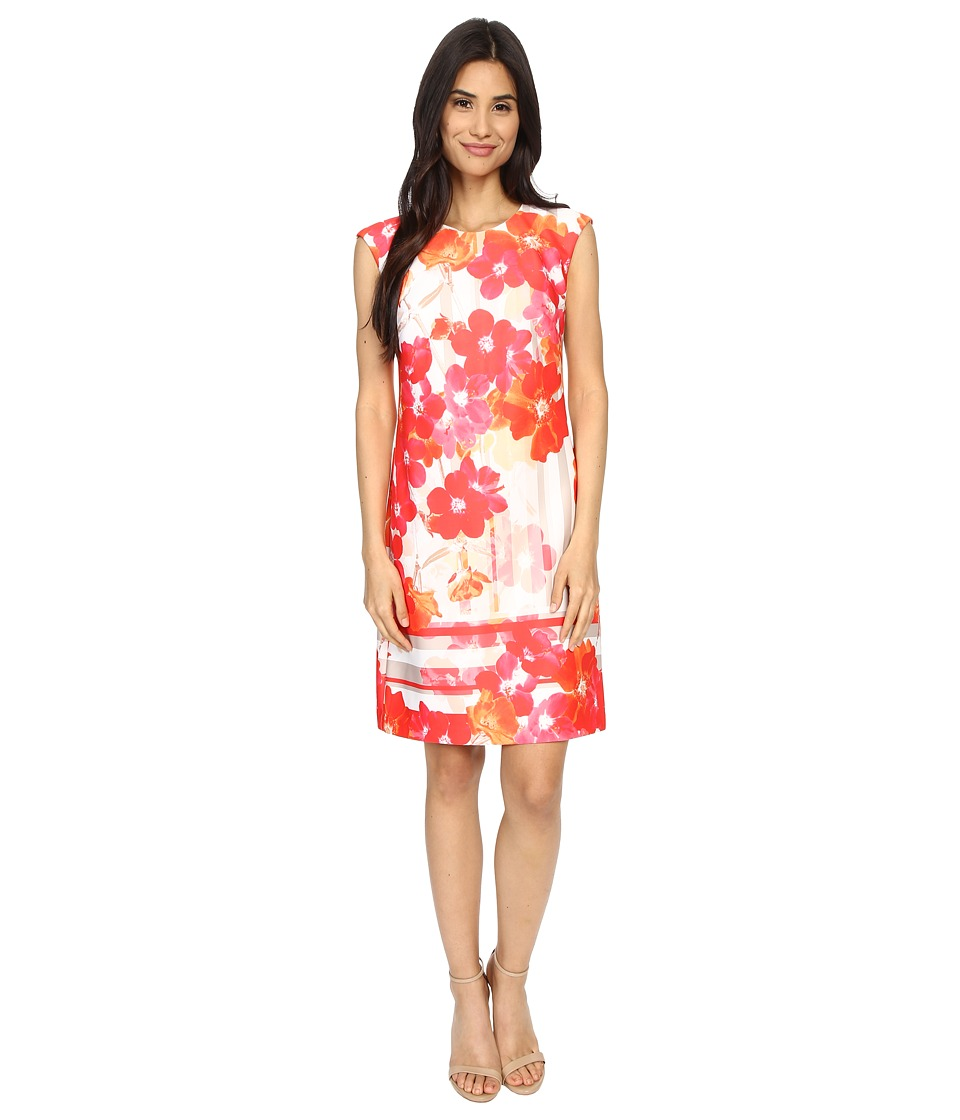 Vince Camuto - Printed Scuba Extended Cap Sleeve Shift Dress (Pink Multi) Women's Dress
