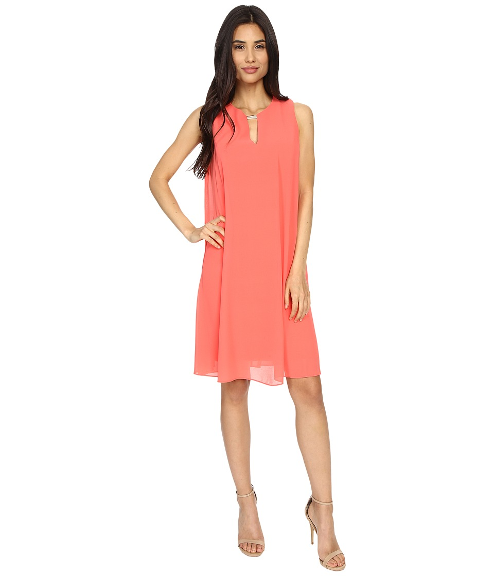 Vince Camuto - Sleeveless Float Dress with Keyhole (Poppy) Women's Dress