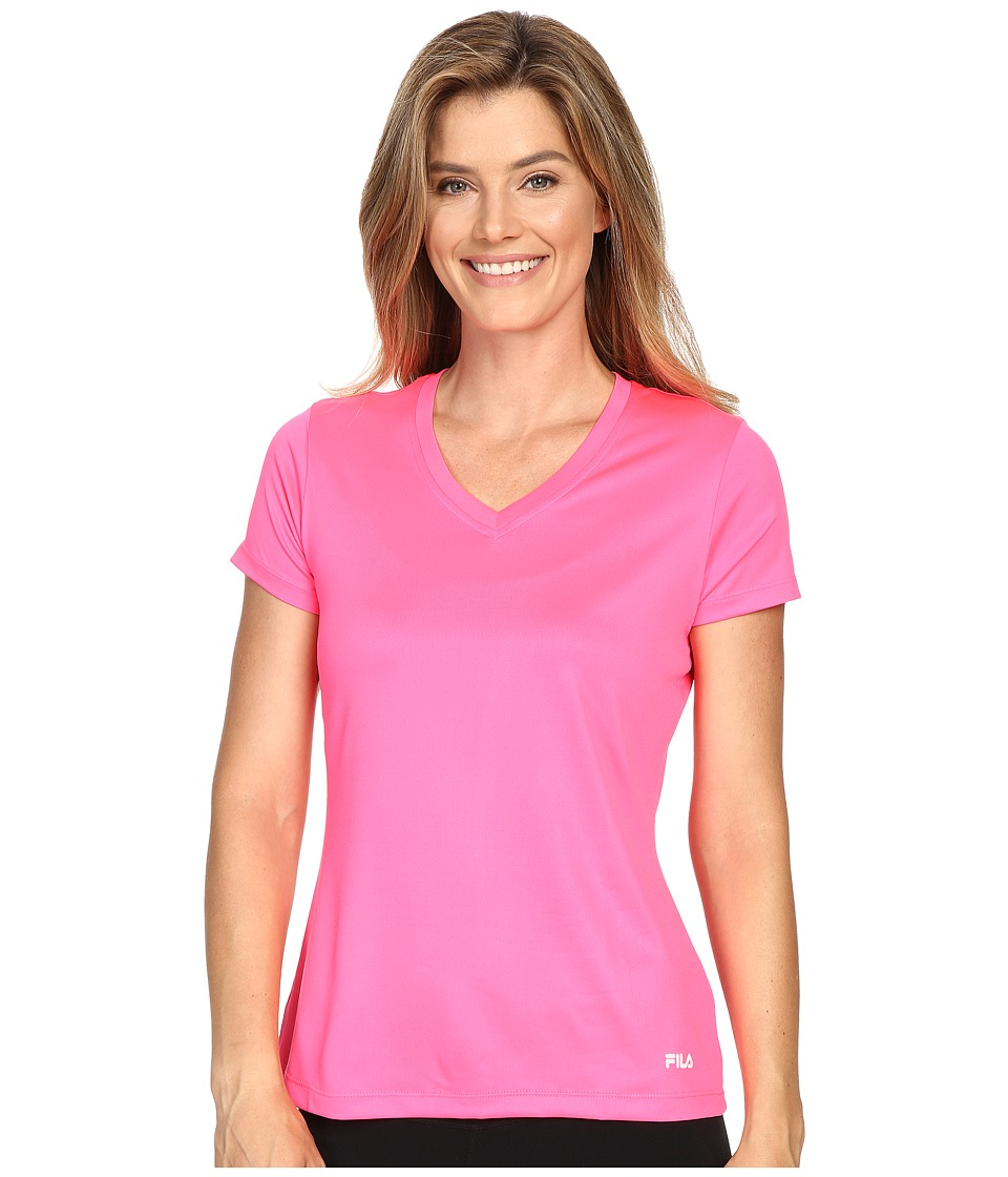 Fila - Heather V-Neck Tee (Knockout Pink) Women's T Shirt
