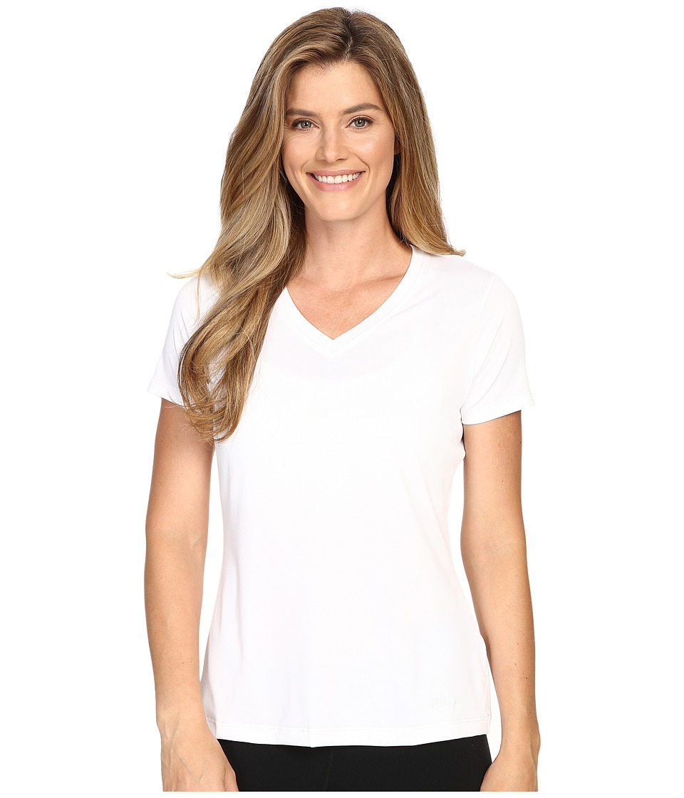 Fila - Heather V-Neck Tee (White) Women's T Shirt