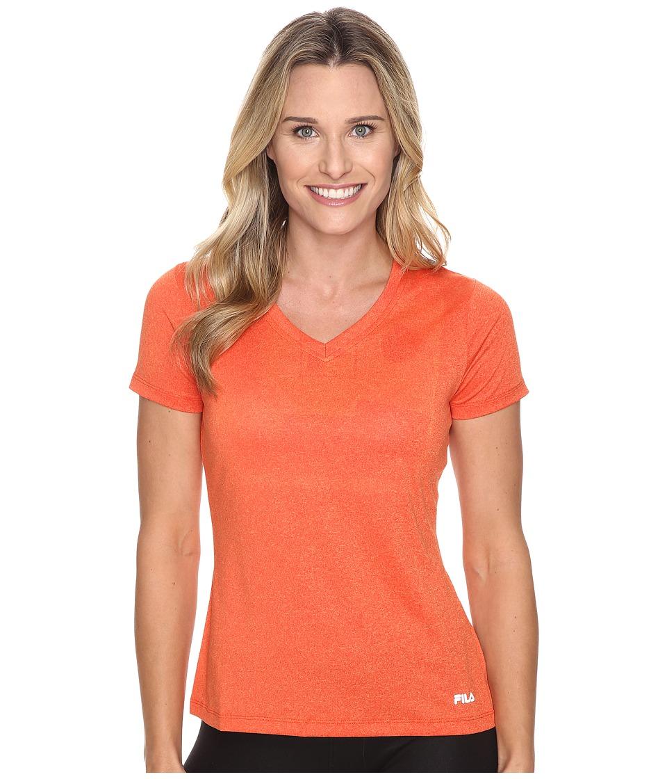 Fila - Heather V-Neck Tee (Cherry Tomato Heather) Women's T Shirt