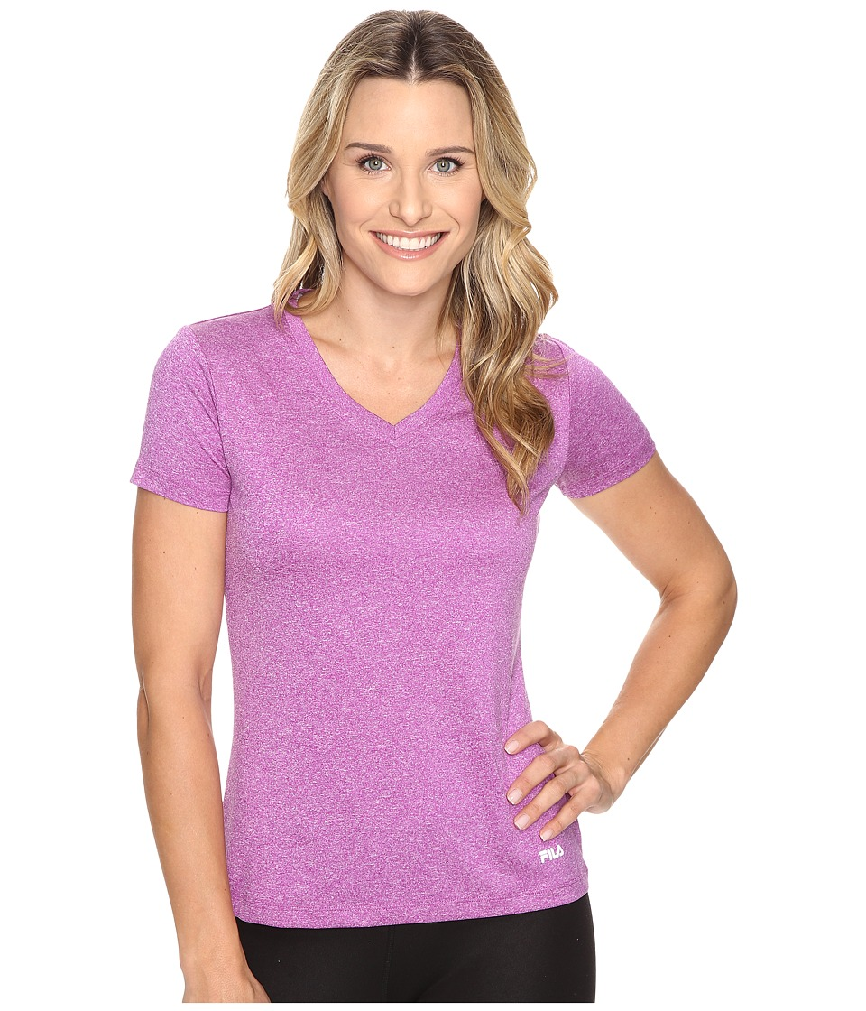Fila - Heather V-Neck Tee (Concord Grape Heather) Women's T Shirt