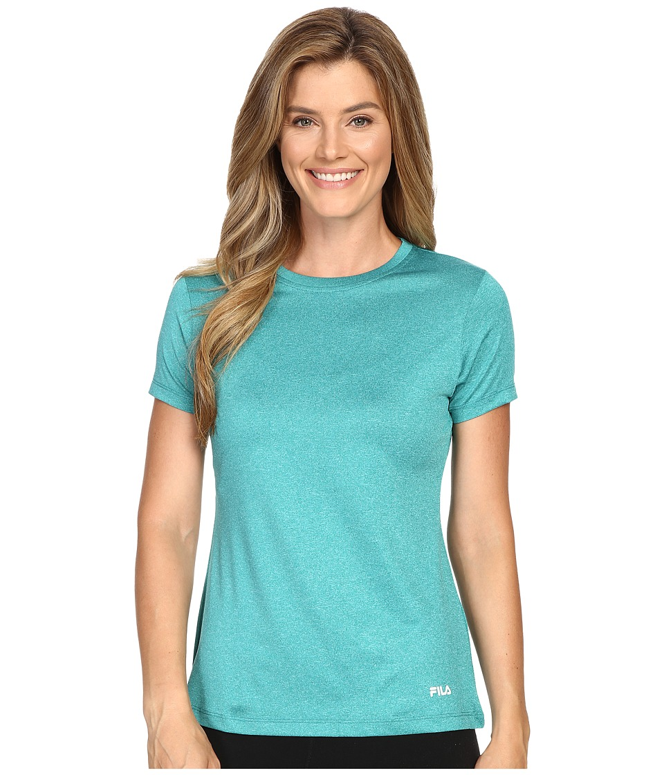 Fila - Heather Crew Neck Tee (Emerald Teal Heather) Women's T Shirt
