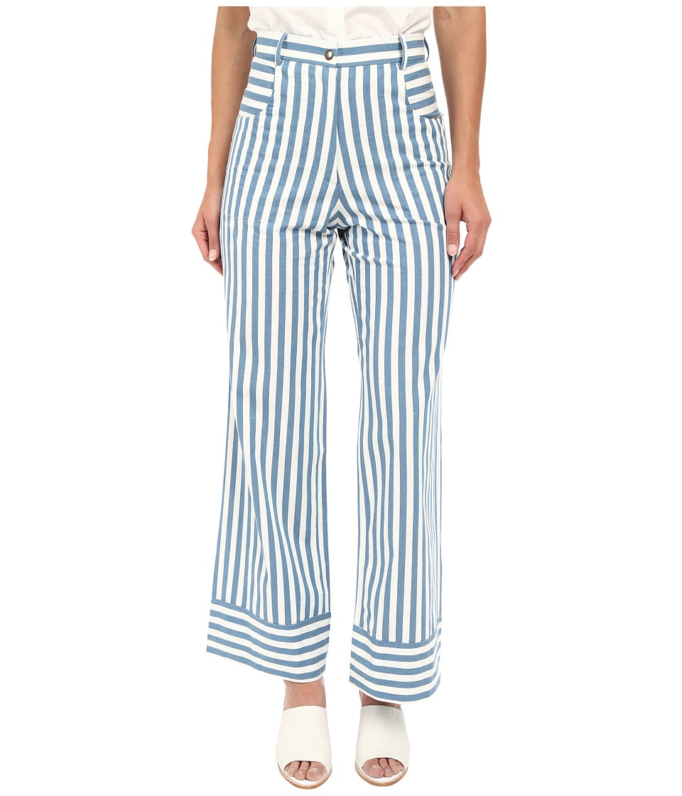 Rachel Antonoff - Capi Crop Flare (Blue Stripe) Women's Casual Pants