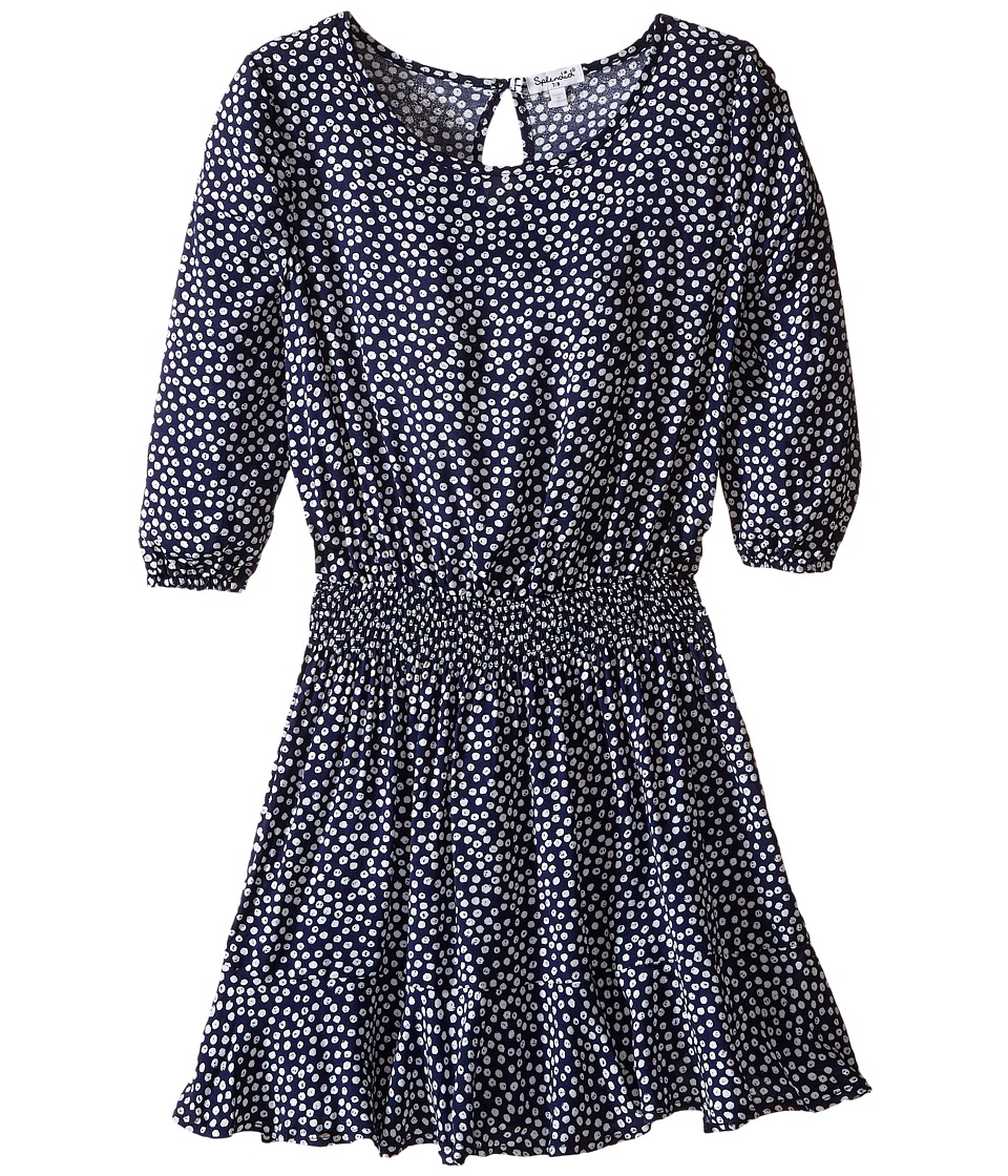 Splendid Littles - Ditsy Dot 3/4 Sleeve Dress (Big Kids) (Navy) Girl's Dress