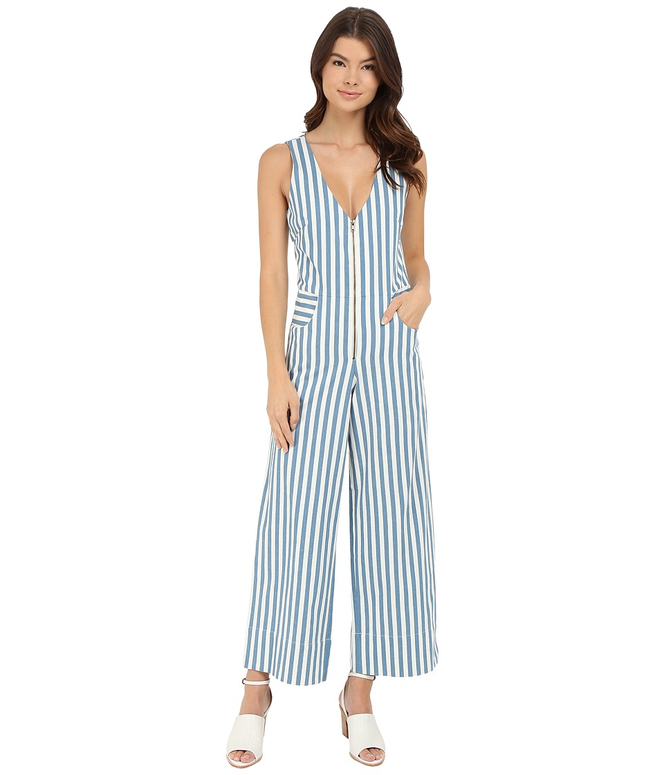 Rachel Antonoff - Ace Plunge Jumpsuit (Blue Stripe) Women's Jumpsuit & Rompers One Piece