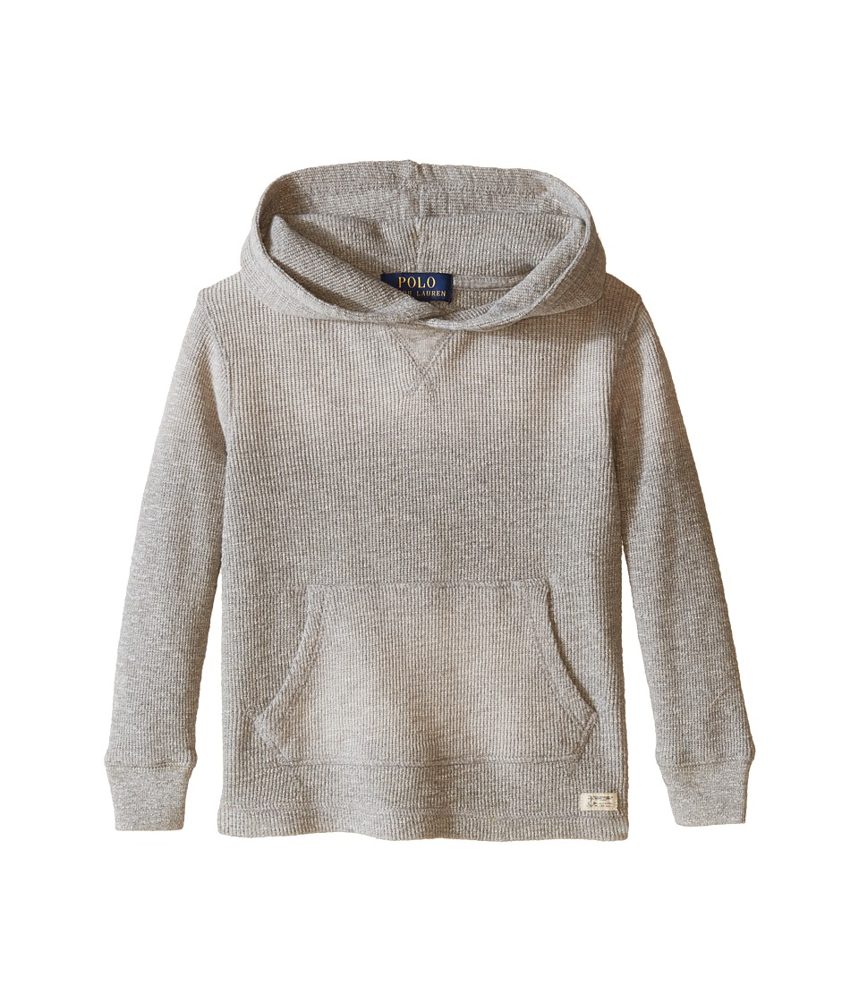 Polo Ralph Lauren Kids - Hooded Pullover (Toddler) (Surfer Grey Heather) Boy's Long Sleeve Pullover