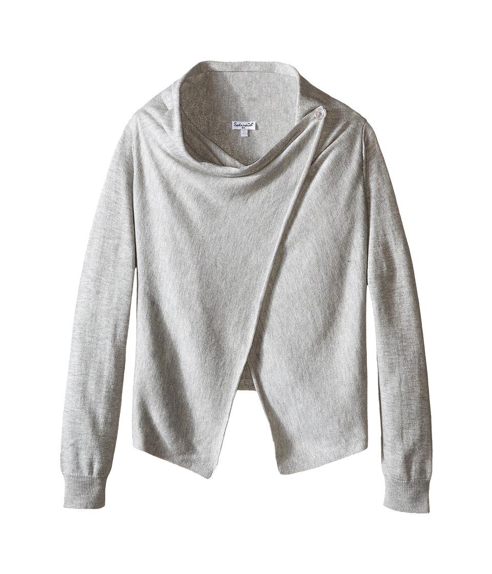 Splendid Littles - Wrap Sweater with Button (Little Kids) (Grey Heather) Girl's Sweater