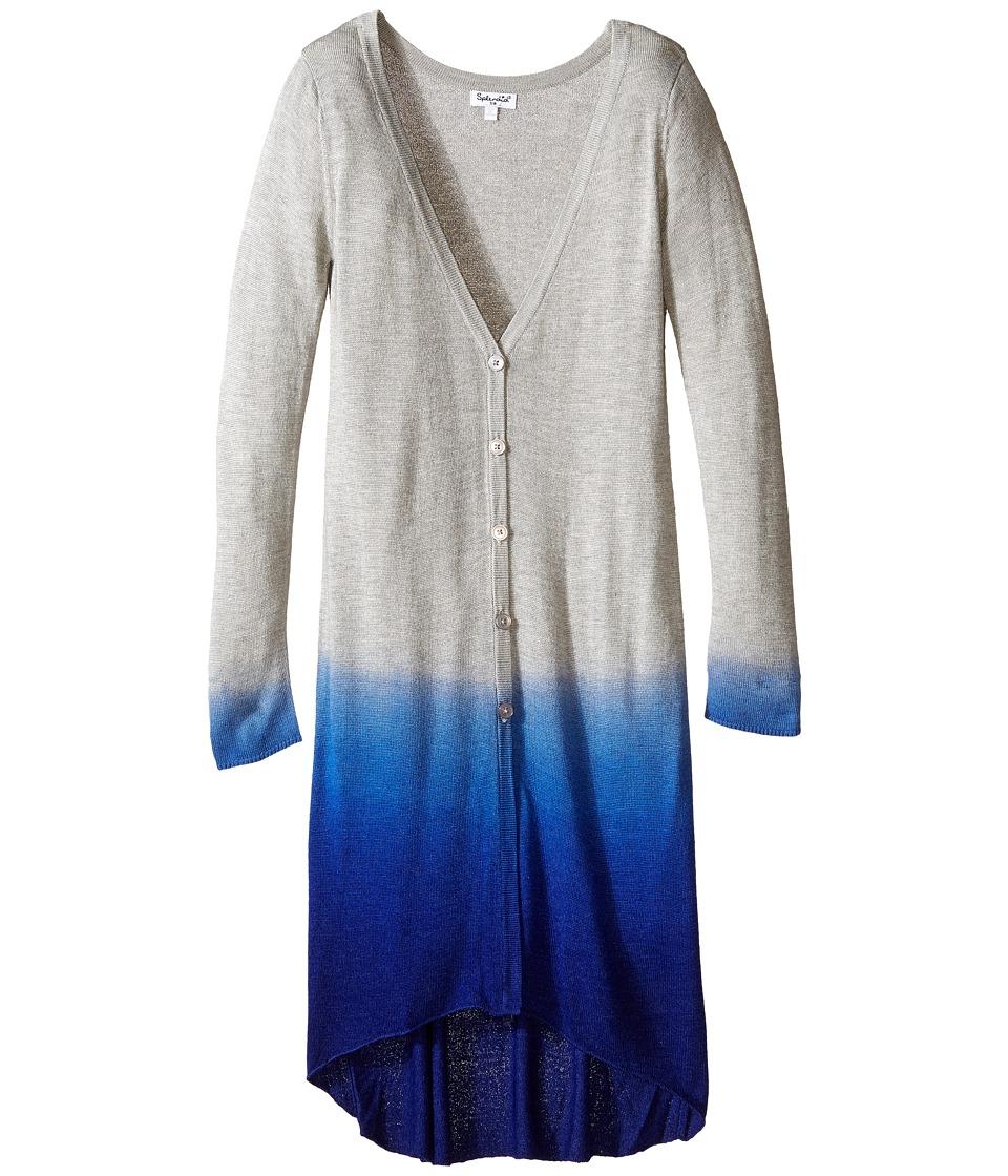 Splendid Littles - Dip-Dye Knit Long Cardigan (Big Kids) (Grey Heather) Girl's Sweater