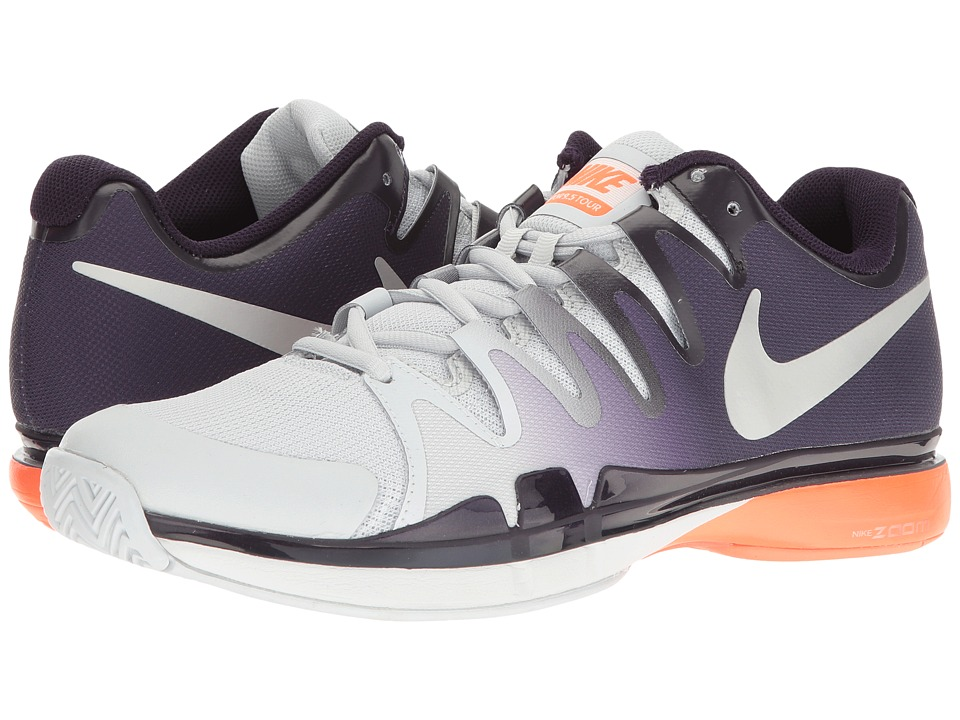 Nike - Zoom Vapor 9.5 Tour (Pure Platinum/Metallic Silver-Purple Dynasty) Men's Tennis Shoes