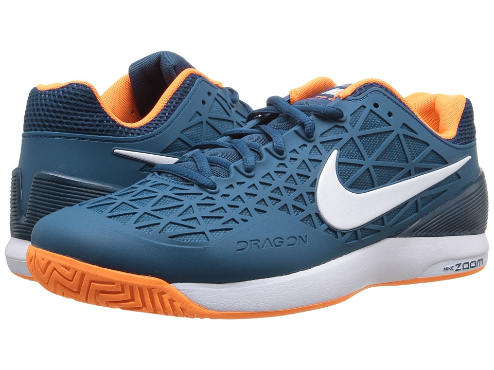 Nike - Zoom Cage 2 (Coastal Blue/White-Birght Citrus) Men's Tennis Shoes