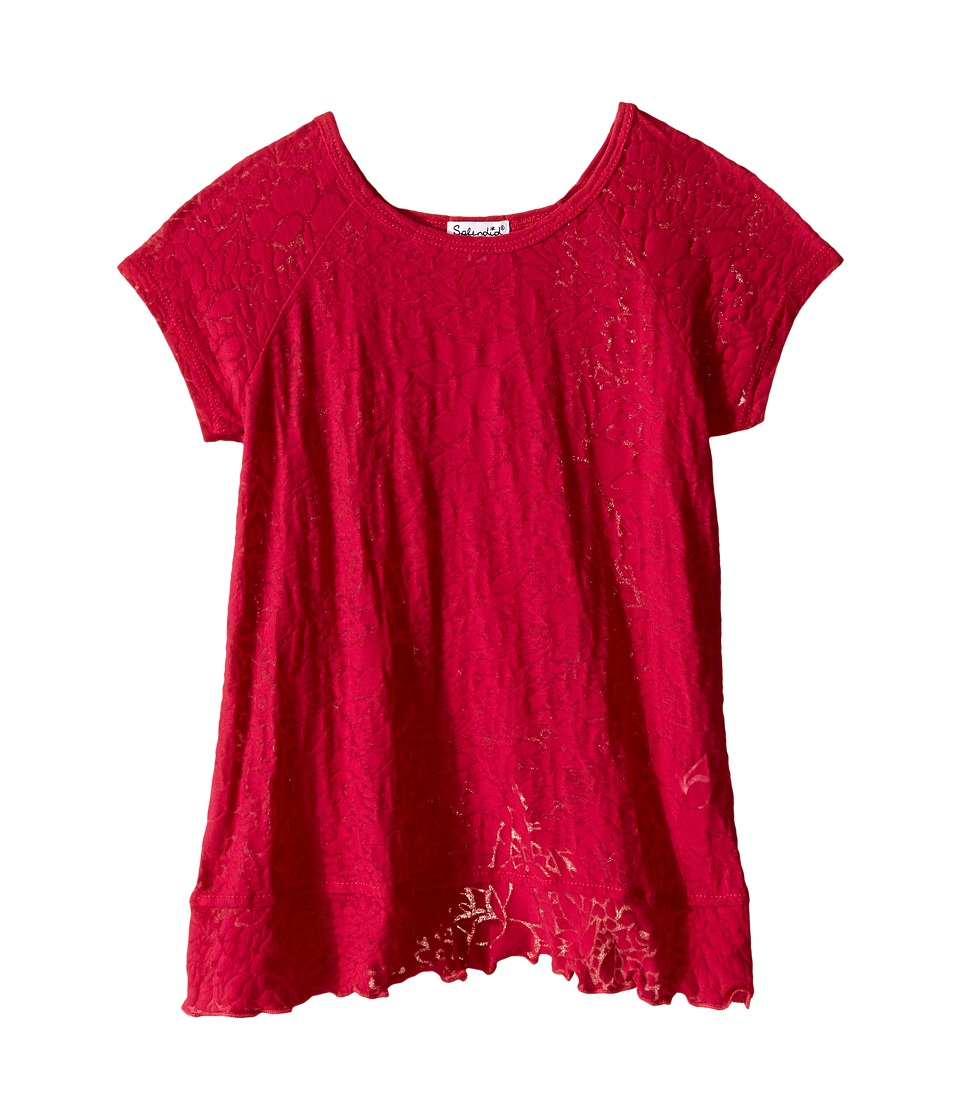 Splendid Littles - Burnout Short Sleeve Tee with Flounce (Little Kids) (Dark Pink) Girl's T Shirt