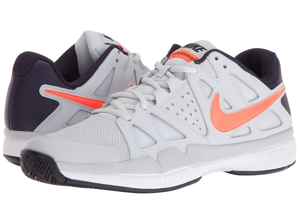 Nike - Air Vapor Advantage (Pure Platinum/Total Crimson-Purple Dynasty) Men's Tennis Shoes