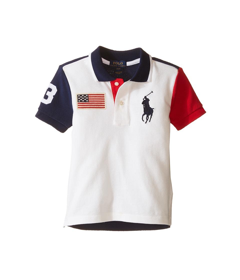 Polo Ralph Lauren Kids - Basic Flag Polo (Toddler) (White) Boy's Short Sleeve Knit