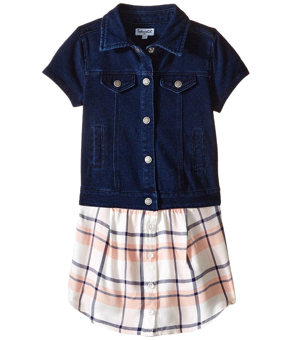 Splendid Littles - Cap Sleeve Indigo/Woven Top (Toddler) (Dark Stone) Girl's Clothing
