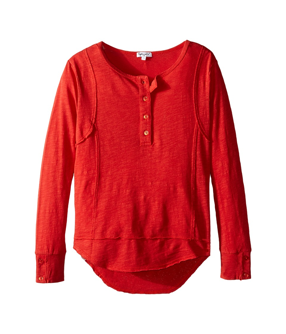 Splendid Littles - Long Sleeve Henley (Big Kids) (Red) Girl's Clothing