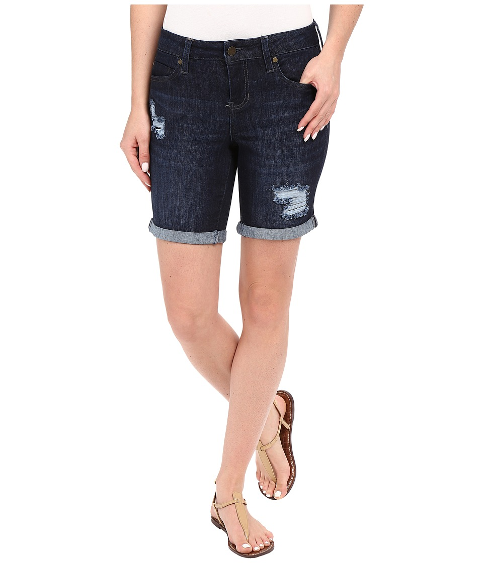 Liverpool - Corine Rolled Denim Shorts w/ Destruction in Vintage Super Dark (Vintage Super Dark) Women's Shorts