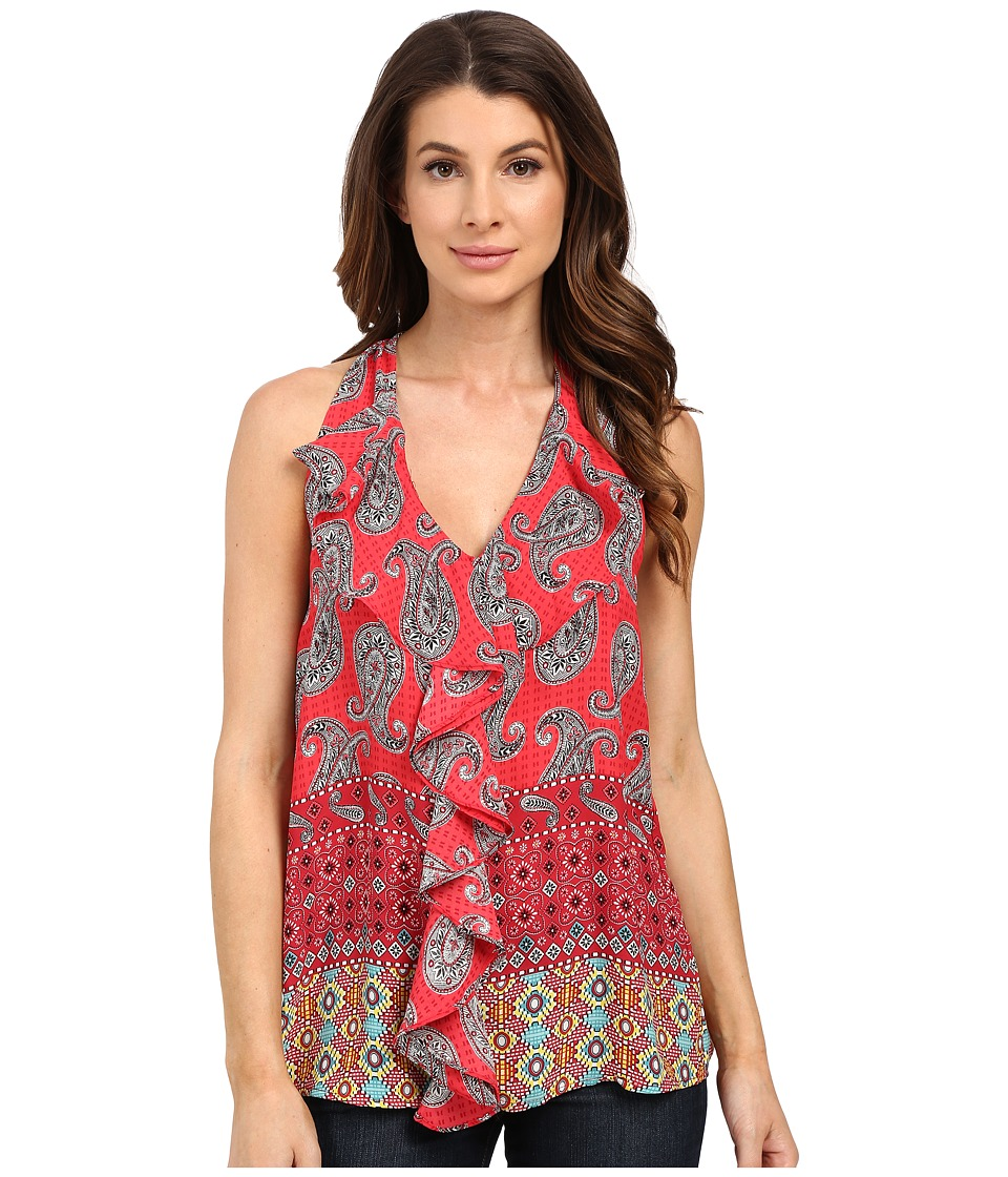KUT from the Kloth - Emma Printed Ruffle Front Top (Red) Women's Clothing