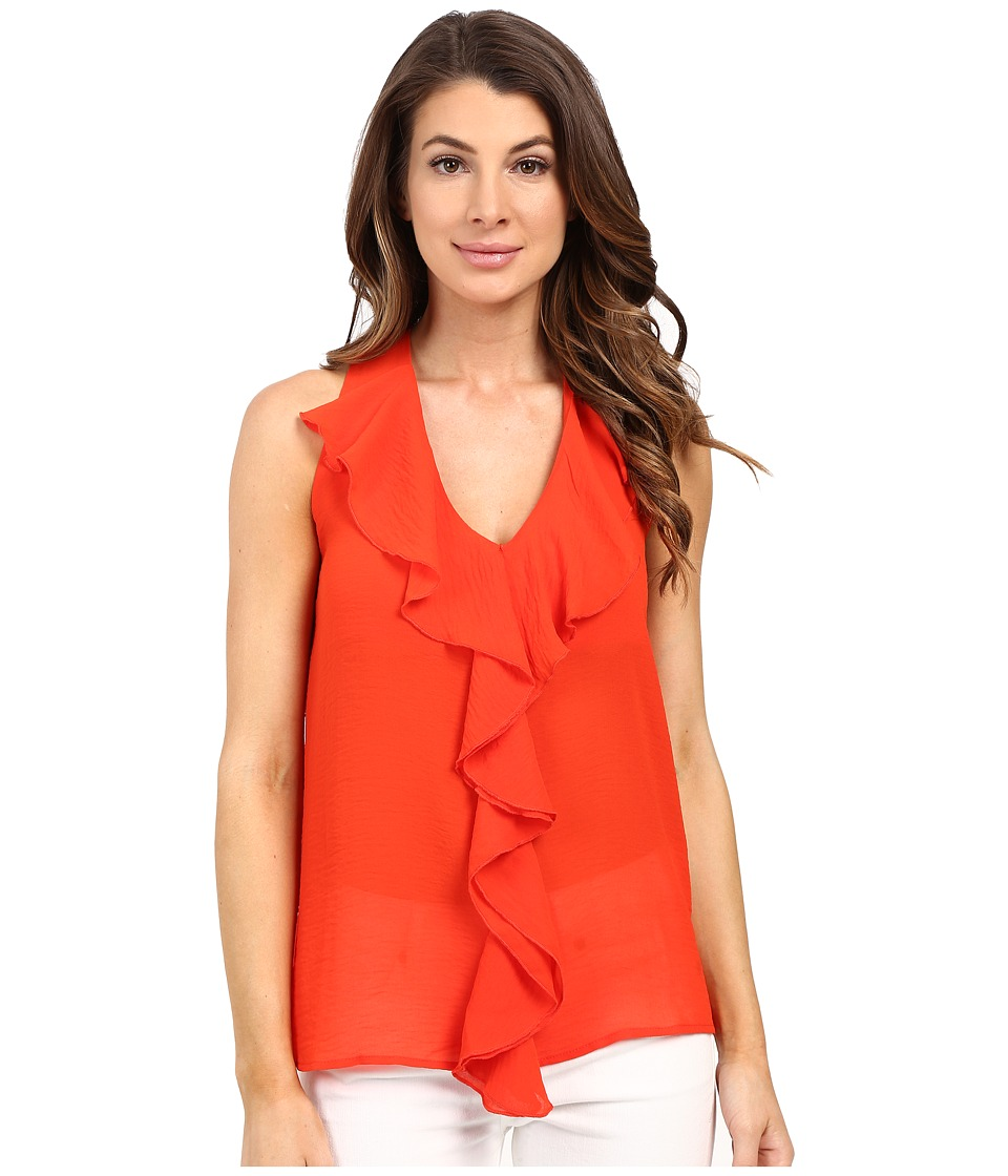 KUT from the Kloth - Emma Ruffle Front Top (Coral) Women's Clothing