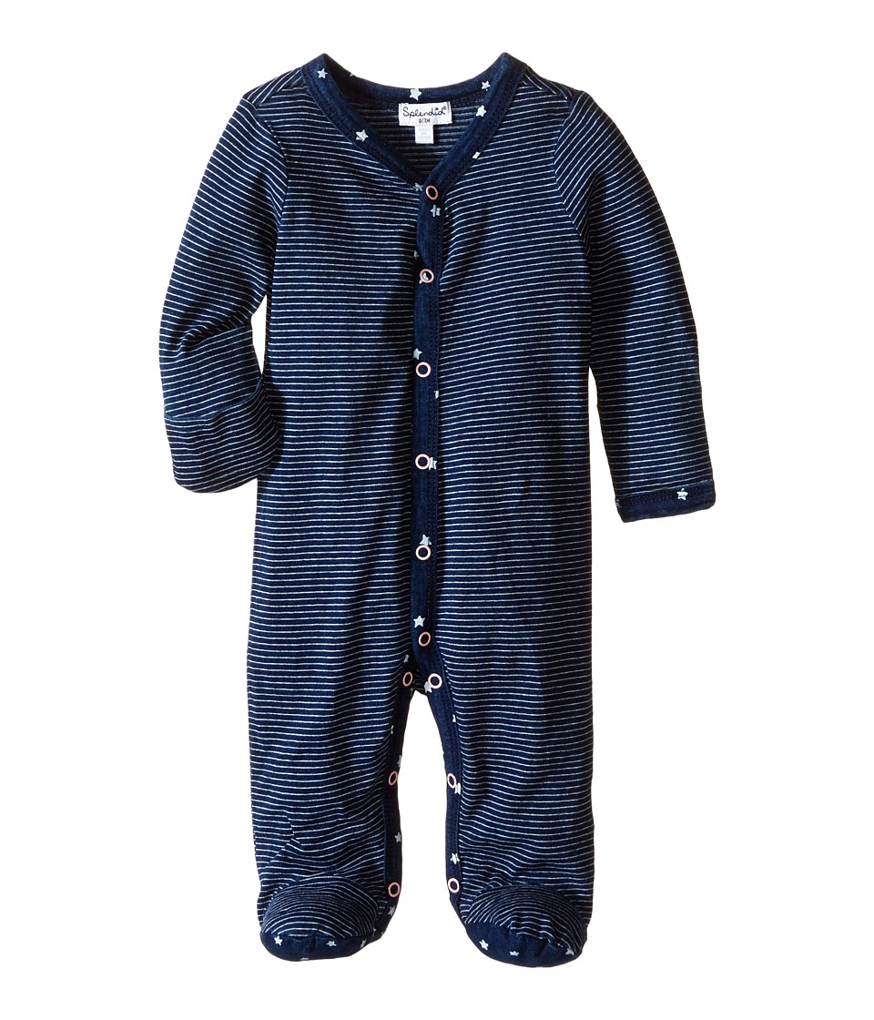Splendid Littles - Indigo Yarn-Dye Coverall (Infant) (Dark Stone Stripe) Girl's Overalls One Piece