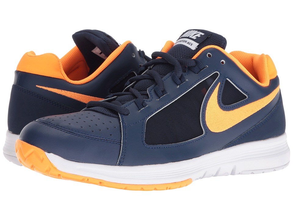 Nike - Air Vapor Ace (Mid Navy/Bright Citrus-White-Black) Men's Tennis Shoes