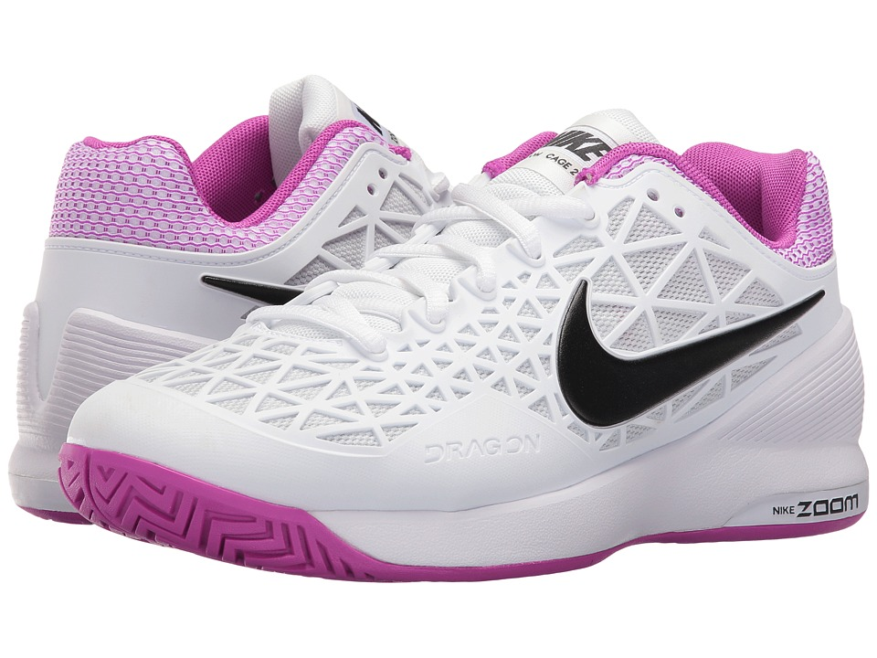 Nike - Zoom Cage 2 (White/Black-Hyper Violet-Pure Platinum) Women's Tennis Shoes