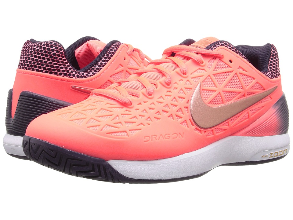 Nike - Zoom Cage 2 (Bright Mango/Metallic Rose Gold-Purple Dynasty) Women's Tennis Shoes