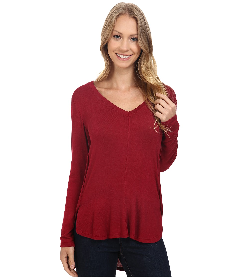 B Collection by Bobeau - Alice Long Sleeve Tee (Lumberjack Red) Women's T Shirt
