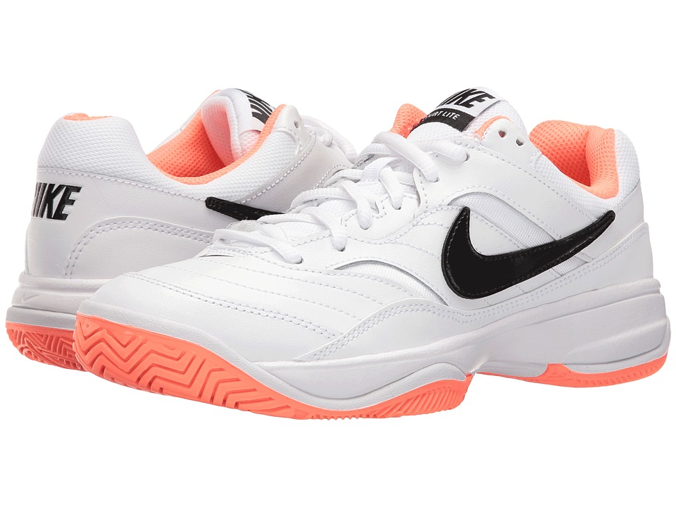 Nike - Court Lite (White/Black-Bright Mango) Women's Tennis Shoes