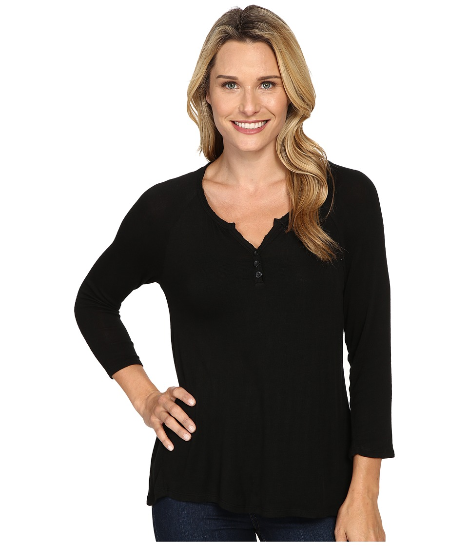 B Collection by Bobeau - Pixie Long Sleeve Henley (Black) Women's Long Sleeve Pullover