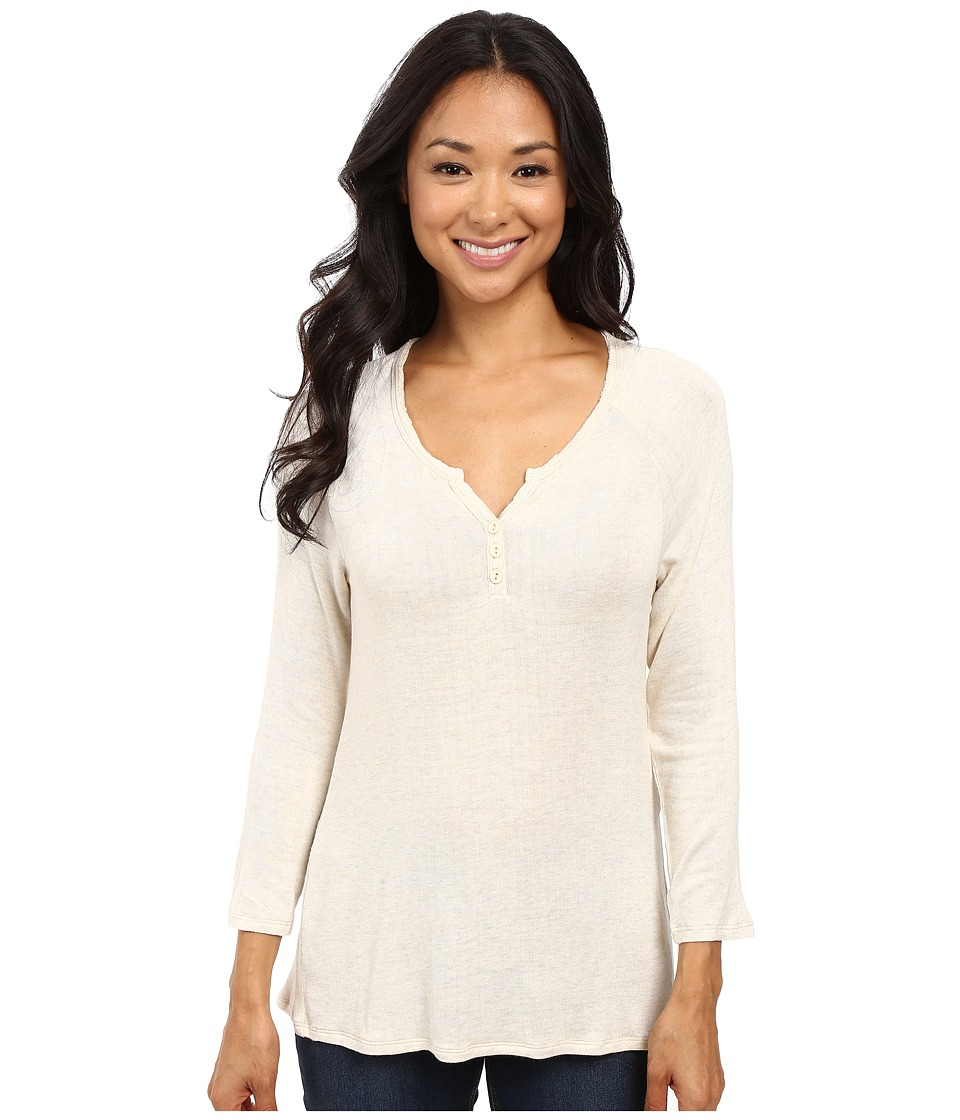 B Collection by Bobeau - Pixie Long Sleeve Henley (Oatmeal) Women's Long Sleeve Pullover