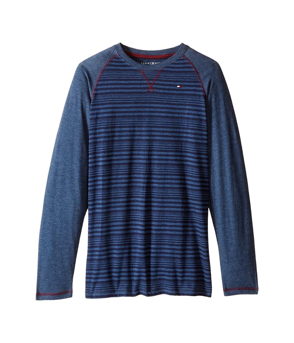 Tommy Hilfiger Kids - Alexa Stripe Jersey Long Sleeve Tee (Big Kids) (Provincial Blue) Boy's T Shirt