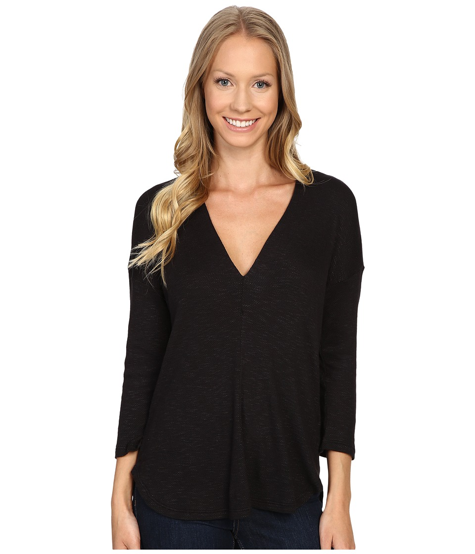 B Collection by Bobeau - Millie V-Neck Knit Top (Black) Women's Clothing