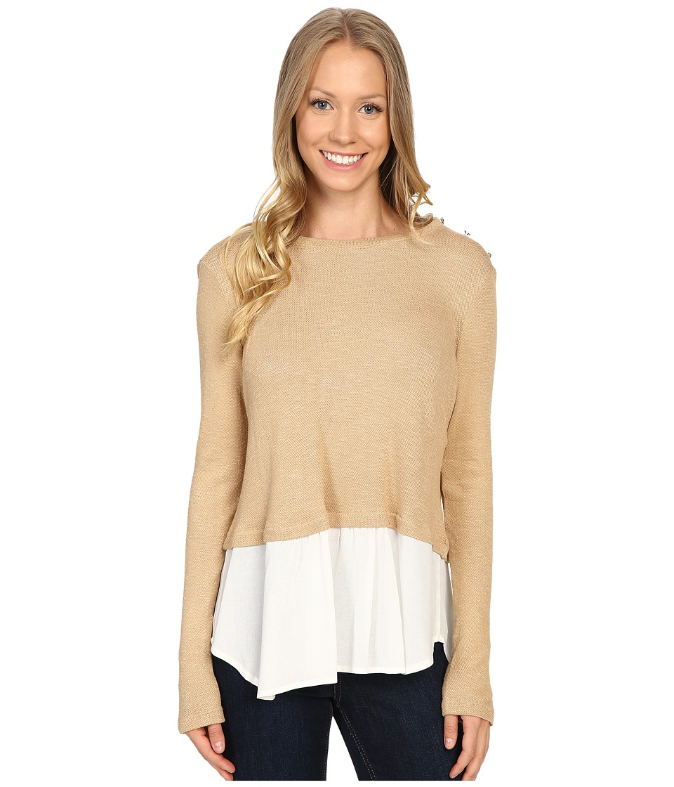 Image of B Collection by Bobeau - Agatha Mixed Media Top with Button Shoulder (Camel) Women's Blouse