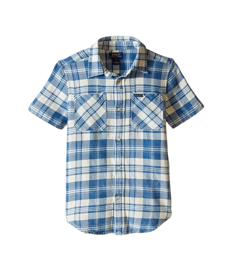 Polo Ralph Lauren Kids - Twill Straight Collar Shirt (Little Kids) (Cream/Indigo Multi) Boy's Long Sleeve Button Up