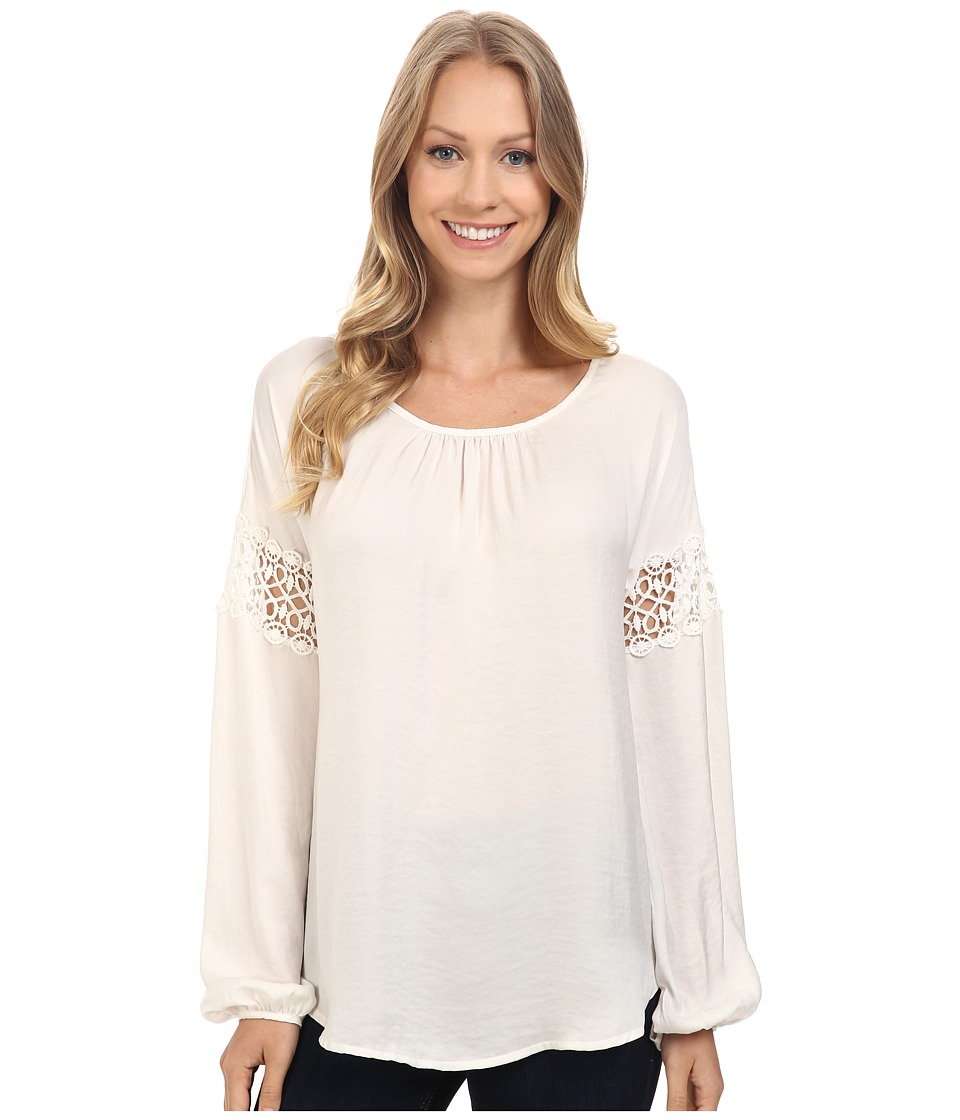 B Collection by Bobeau - Gracie Blouse with Crochet Trim (Ivory) Women's Blouse