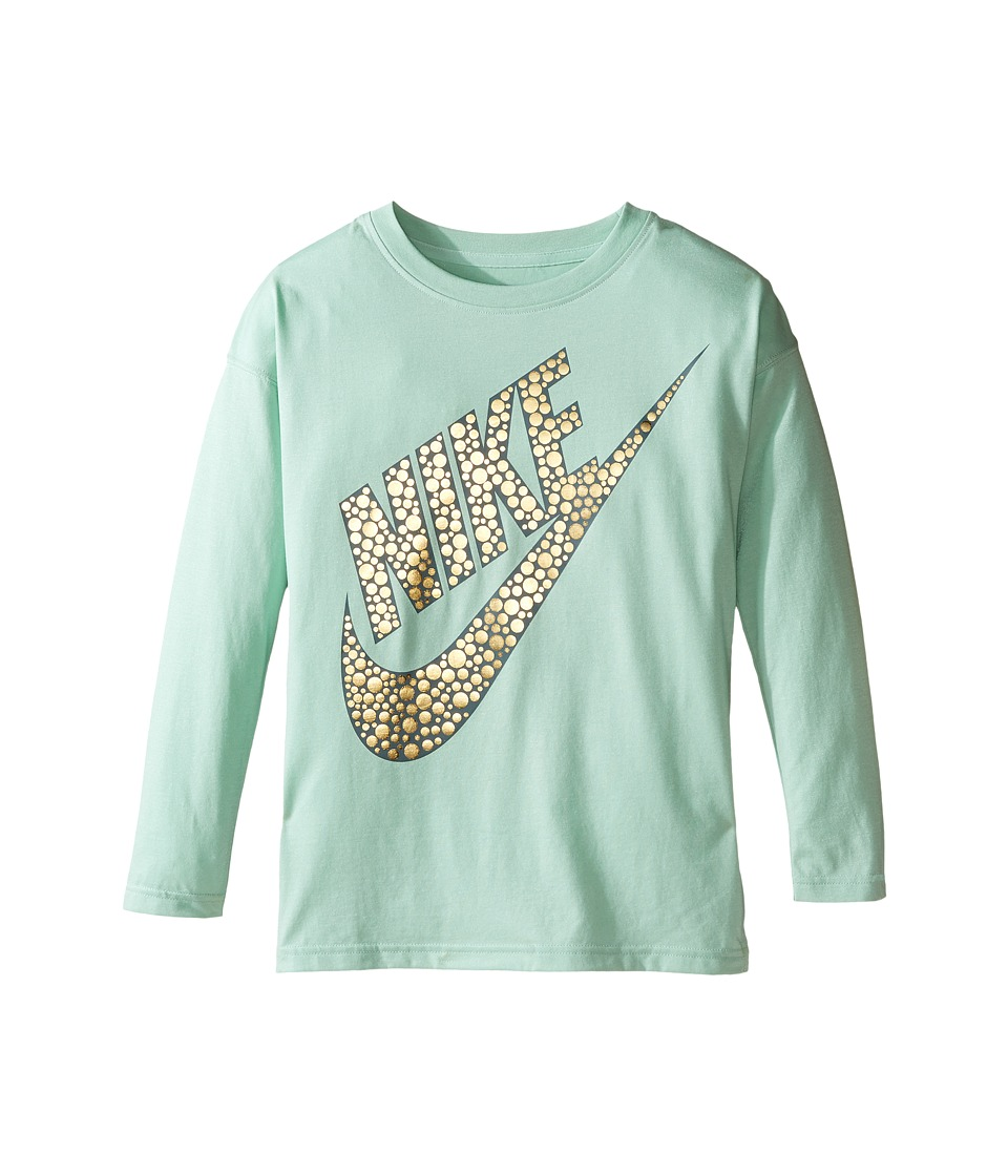 Nike Kids - Sportswear Long Sleeve Graphic Top (Little Kids/Big Kids) (Enamel Green) Girl's Clothing
