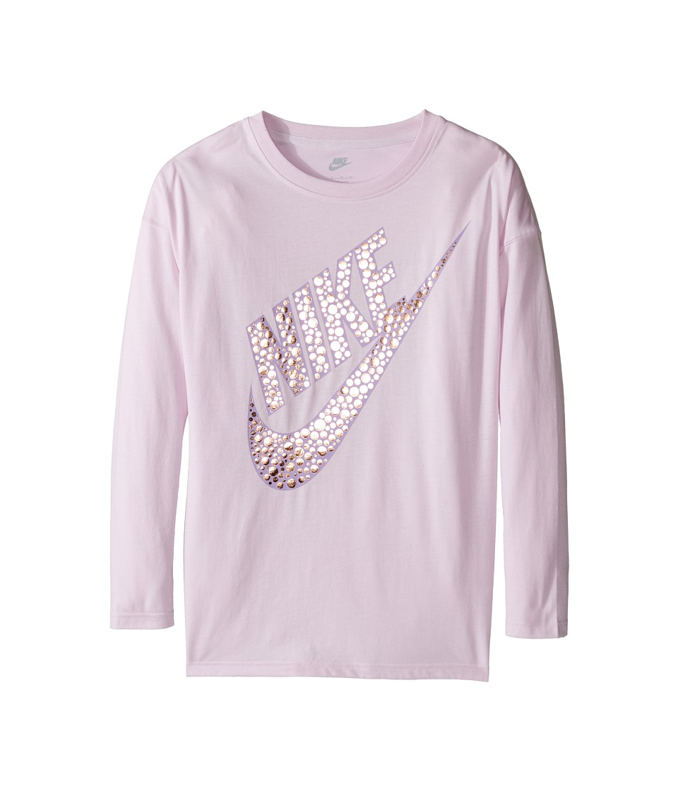 Nike Kids - Sportswear Long Sleeve Graphic Top (Little Kids/Big Kids) (Bleached Lilac) Girl's Clothing