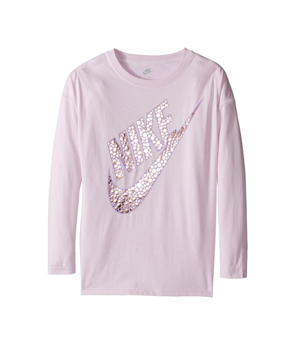 Nike Kids - Sportswear Long Sleeve Graphic Top (Little Kids/Big Kids) (Bleached Lilac) Girl's Clothing