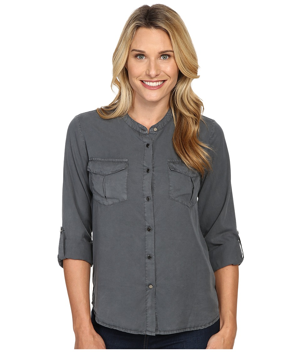 B Collection by Bobeau - Pippa Two-Pocket Tencel Blouse (Charcoal Grey) Women's Blouse
