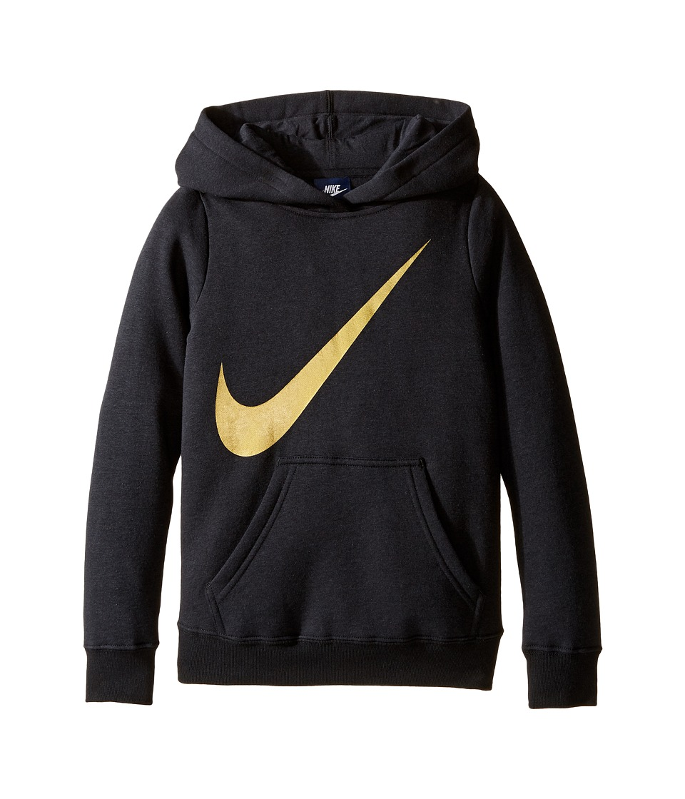 Nike Kids - NSW Hoodie Over the Head Graphic (Little Kids/Big Kids) (Black) Girl's Clothing