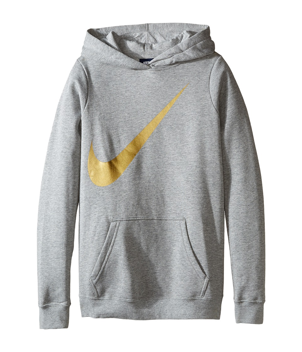 Nike Kids - NSW Hoodie Over the Head Graphic (Little Kids/Big Kids) (Dark Grey Heather) Girl's Clothing