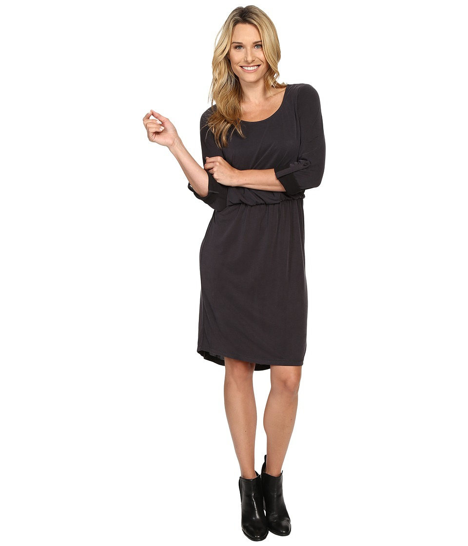 B Collection by Bobeau Cedric Knit Rolled Sleeve Dress (Charcoal Grey) Women