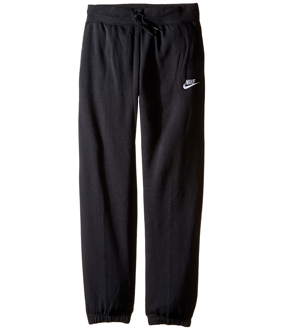 Nike Kids - Sportswear Regular Fleece Pant (Little Kids/Big Kids) (Black/Black/White) Girl's Casual Pants