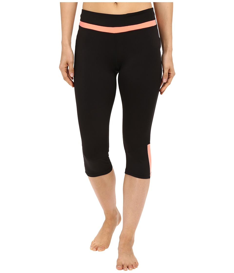 Fila - Blast Tight Capris (Black/Furo Coral) Women's Capri