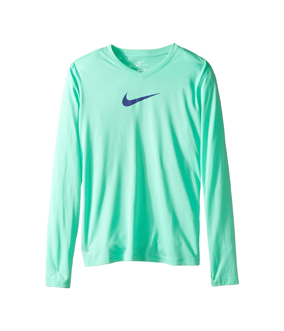 Nike Kids - Leg V-Neck Swoosh L/S Tee (Little Kids/Big Kids) (Green Glow/Dark Purple Dust) Girl's Long Sleeve Pullover