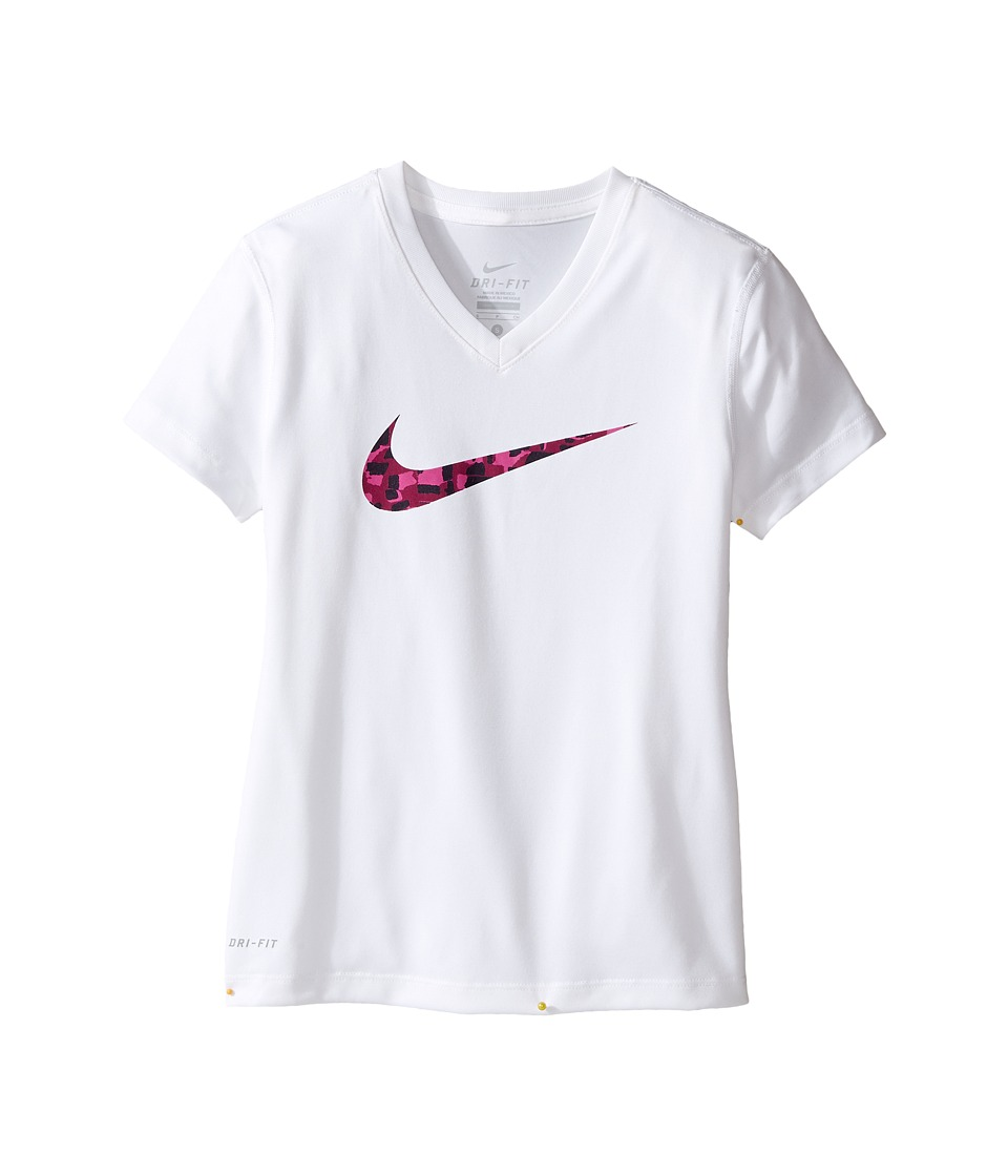 Nike Kids - Dry Swoosh Short Sleeve Training T-Shirt (Little Kids/Big Kids) (White) Girl's T Shirt